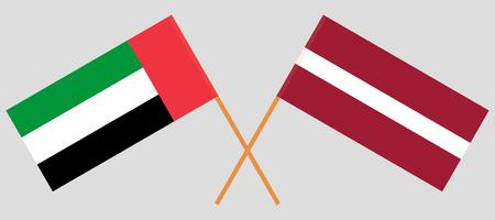 United Arab Emirates and Latvia. The UAE and Latvian flags. Official colors. Correct proportion. Vector illustration Vektoros illusztráció