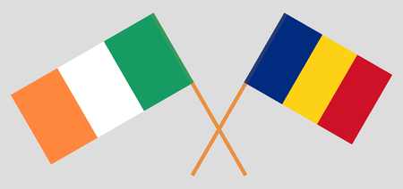 Romania and Ireland. The Romanian and Irish flags. Official proportion. Correct colors. Vector illustration Stock Illustratie