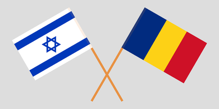 Romania and Israel. The Romanian and israeli flags. Official proportion. Correct colors. Vector illustration Ilustração