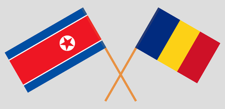 Romania and North Korea. The Romanian and Korean flags. Official proportion. Correct colors. Vector illustration
