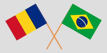 Romania and Brazil. The Romanian and Brazilian flags. Official proportion. Correct colors. Vector illustration
