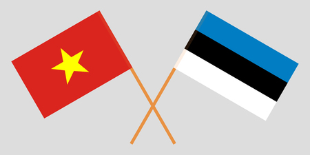Estonia and Vietnam. The Estonian and Vietnamese flags. Official proportion. Correct colors. Vector illustration Illustration