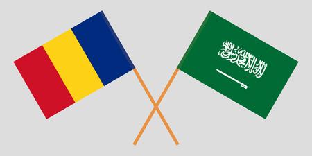 Romania and Kingdom of Saudi Arabia. The Romanian and Saudi flags. Official proportion. Correct colors. Vector illustration
