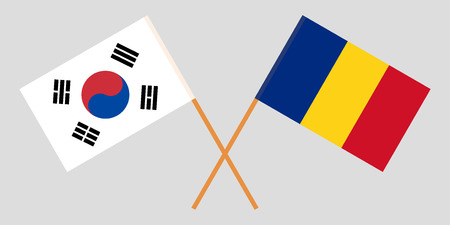 Romania and South Korea. The Romanian and Korean flags. Official proportion. Correct colors. Vector illustration