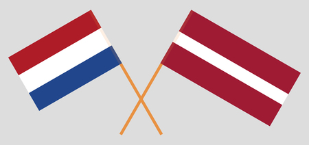 Latvia and Netherlands. The Latvian and Netherlandish flags. Official colors. Correct proportion. Vector illustration  イラスト・ベクター素材