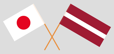 Latvia and Japan. The Latvian and Japanese flags. Official colors. Correct proportion. Vector illustration