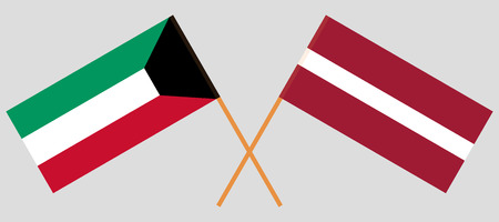Latvia and Kuwait. The Latvian and Kuwaiti flags. Official colors. Correct proportion. Vector illustration