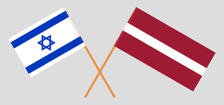 Israel and Latvia. The Israeli and Latvian flags. Official colors. Correct proportion. Vector illustration