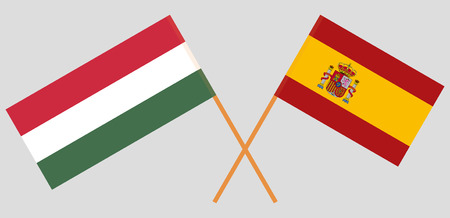 Spain and Hungary. The Spanish and Hungarian flags. Official proportion. Correct colors. Vector illustration