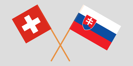 Slovakia and Switzerland. The Slovakian and Swiss flags. Official colors. Correct proportion. Vector illustration