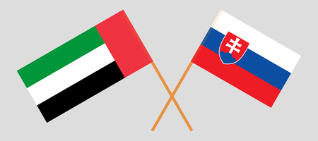 Slovakia and United Arab Emirates. The Slovakian and UAE flags. Official colors. Correct proportion. Vector illustration
