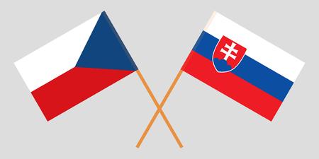 Slowakei und Tschechien. Die slowakischen und tschechischen Flaggen. Offizielle Farben. Richtiges Verhältnis. Vektor-Illustration
