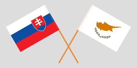 Slovakia and Cyprus. The Slovakian and Cyprian flags. Official colors. Correct proportion. Vector illustration Vettoriali