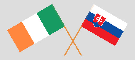Slovakia and Ireland. The Slovakian and Irish flags. Official colors. Correct proportion. Vector illustration