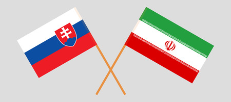 Slovakia and Iran. The Slovakian and Iranian flags. Official colors. Correct proportion. Vector illustration