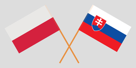 Slovakia and Poland. The Slovakian and Polish flags. Official colors. Correct proportion. Vector illustration