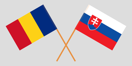 Slovakia and Romania. The Slovakian and Romanian flags. Official colors. Correct proportion. Vector illustration