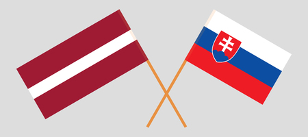 Slovakia and Latvia. The Slovakian and Latvian flags. Official colors. Correct proportion. Vector illustration