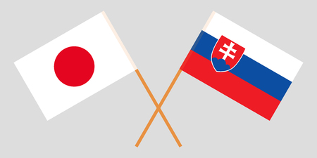 Slovakia and Japan. The Slovakian and Japanese flags. Official colors. Correct proportion. Vector illustration