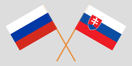 Slovakia and Russia. The Slovakian and Russian flags. Official colors. Correct proportion. Vector illustration