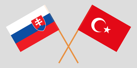 Slovakia and Turkey. The Slovakian and Turkish flags. Official colors. Correct proportion. Vector illustration