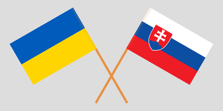 Slovakia and Ukraine. The Slovakian and Ukrainian flags. Official colors. Correct proportion. Vector illustration  イラスト・ベクター素材