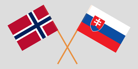 Slovakia and Norway. The Slovakian and Norwegian flags. Official colors. Correct proportion. Vector illustration