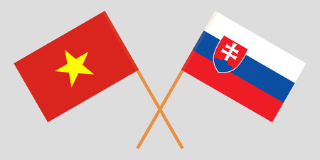 Slovakia and Vietnam. The Slovakian and Vietnamese flags. Official colors. Correct proportion. Vector illustration