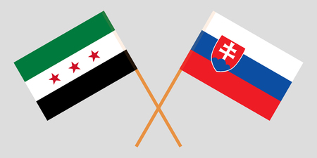 Slovakia and Interim Government of Syria. The Slovakian and Coalition flags. Official colors. Correct proportion. Vector illustration