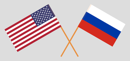 USA and Russia. The United States of America and Russian flags. Official colors. Correct proportion. Vector illustration