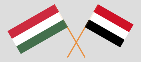 Hungary and Yemen. The Hungarian and Yemeni flags. Official colors. Correct proportion. Vector illustration