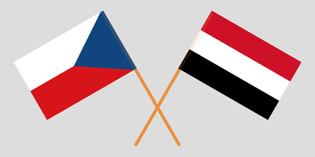 Yemen and Czech Republic. The Yemeni and Czech flags. Official colors. Correct proportion. Vector illustration