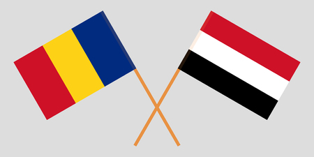Romania and Yemen. The Romanian and Yemeni flags. Official colors. Correct proportion. Vector illustration