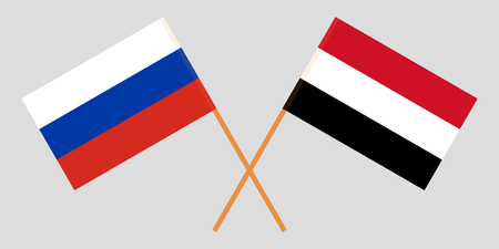 Russia and Yemen. The Russian and Yemeni flags. Official colors. Correct proportion. Vector illustration Vektoros illusztráció