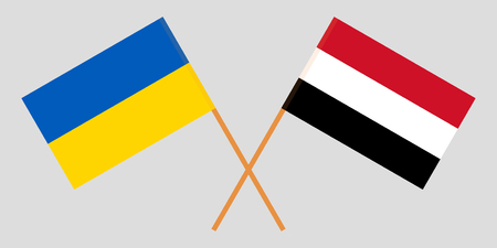 Yemen and Ukraine. The Yemeni and Ukrainian flags. Official colors. Correct proportion. Vector illustration Çizim