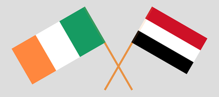 Yemen and Ireland. The Yemeni and Irish flags. Official colors. Correct proportion. Vector illustration
