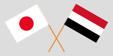Yemen and Japan. The Yemeni and Japanese flags. Official colors. Correct proportion. Vector illustration