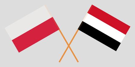 Yemen and Poland. The Yemeni and Polish flags. Official colors. Correct proportion. Vector illustration