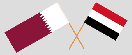 Yemen and Qatar. The Yemeni and Qatari flags. Official colors. Correct proportion. Vector illustration