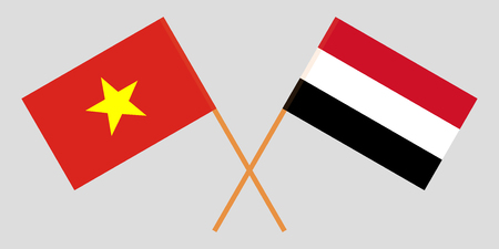 Yemen and Vietnam. The Yemeni and Vietnamese flags. Official colors. Correct proportion. Vector illustration