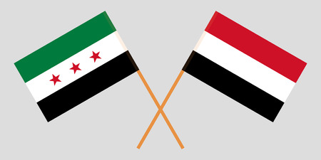 Yemen and Interim Government of Syria. The Yemeni and Coalition flags. Official colors. Correct proportion. Vector illustration