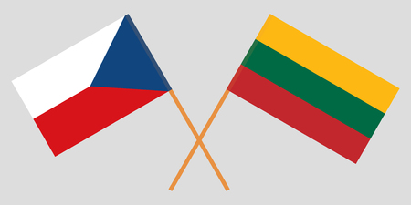 Czech Republic and Lithuania. The Czech and Lithuanian flags. Official colors. Correct proportion. Vector illustration Ilustração