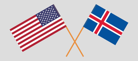 Iceland and USA. The Icelandic and United States of America flags. Official colors. Correct proportion. Vector illustration