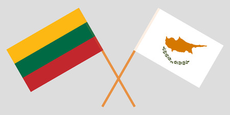 Lithuania and Cyprus. The Lithuanian and Cyprian flags. Official colors. Correct proportion. Vector illustration