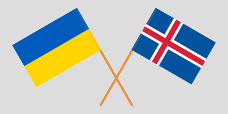 Iceland and Ukraine. The Icelandic and Ukrainian flags. Official colors. Correct proportion. Vector illustration