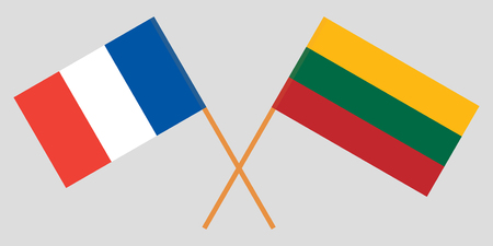 France and Lithuania. The  French and Lithuanian flags. Official colors. Correct proportion. Vector illustration Çizim
