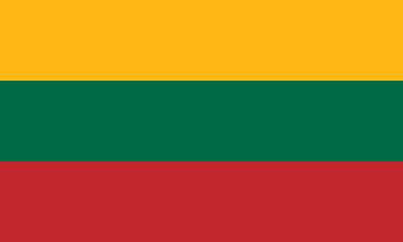 National and civil flag of Lithuania. Official colors. Correct proportion. Vector illustration Illusztráció