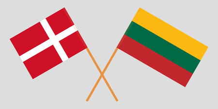 Lithuania and Denmark. The Lithuanian and Danish flags. Official colors. Correct proportion. Vector illustration Illustration
