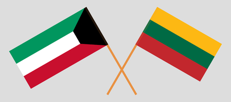 Kuwait and Lithuania. The Kuwaiti and Lithuanian flags. Official colors. Correct proportion. Vector illustration