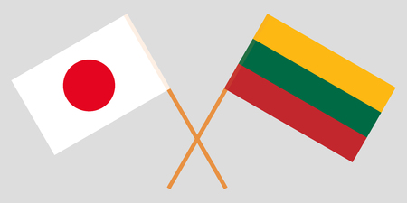Japan and Lithuania. The Japanese and Lithuanian flags. Official colors. Correct proportion. Vector illustration Illustration